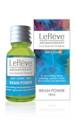 Brain Power An invigorating blend that focuses the mind and stimulates creative thought - ideal for office workers and students at exam time.   Assists mental clarity, focus, memory recall and concentration Promotes healthy blood circulation and is generally energising May prevent headaches and migraines Helpful in managing jet lag and mental fatigue   Contains: Lemon, Rosemary, Peppermint, Geranium, Basil   Available in: Pure Essential Oil Blend 18mL Intensive Hit Roll-On 15mL