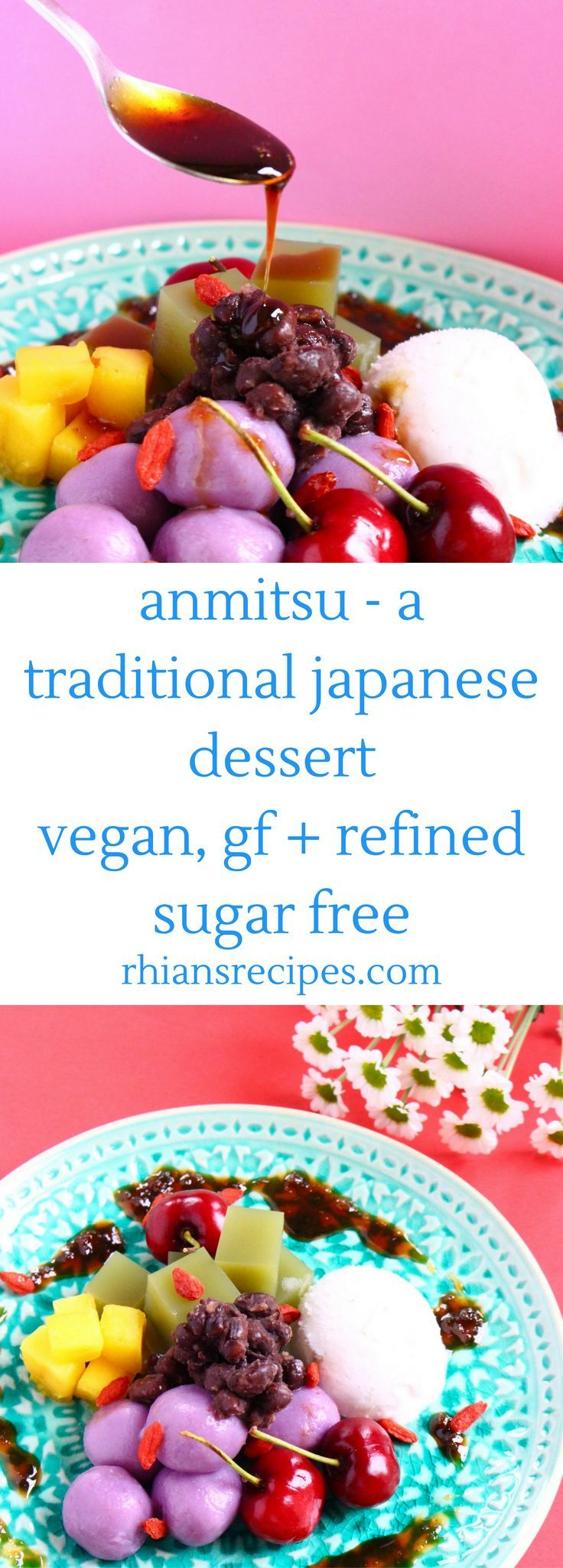 This Vegan Anmitsu is a traditional Japanese dessert. It's the perfect colourful and refreshing summer treat – cubes of green matcha jelly, pillows of purple sweet potato mochi and sweet red bean paste paired with vanilla ice cream, all topped off with some sticky date syrup. Gluten-free and refined sugar free.