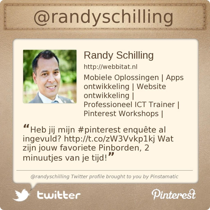 Mobiele Oplossingen | Apps Ontwikkeling | Website Ontwikkeling | Professioneel ICT Trainer | Pinterest Workshops | @randyschillings Twitter profile courtesy of @Pinstamatic (http://pinstamatic.com)