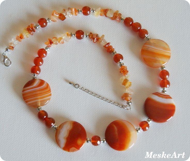 Narancs achát - karneol nyaklánc / Orange agate - karneol necklace / Achat oranzovy - karneol nahrdelnik