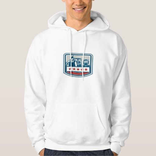 Power Washer Worker Truck Train Crest Retro Sweatshirt. Illustration of a male pressure washing cleaner worker holding a pressure water gun on shoulder looking to the side with truck and train in the background viewed from front set inside shield crest with stars. #Illustration #PowerWasherWorkerTruckTrain
