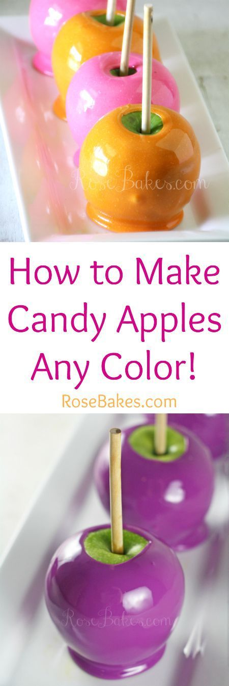 HOW TO MAKE CANDY APPLES ANY COLOR  ==  6-8 medium apples (washed, dried & stems removed)** 3 cups of white sugar ½ cup light corn syrup 1 cup water 1 tsp vanilla extract (or other flavoring) 2 tbsp white food coloring (I recommend AmeriColor Bright White Soft Gel Paste or Lorann White Food Coloring) 1-2 tsp. of gel coloring (whichever color you want your apples to be! - I used Americolor Electric Pink and Americolor Orange) - the more color you use, the brighter the apples will be!) Candy…