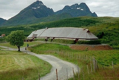 Recreeated building associated with the Lofotr Borg Viking Museum in Norway.