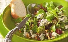 Druiven, parmaham en blauwe kaas salade