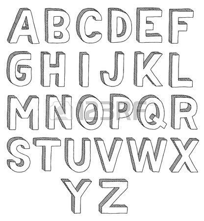 Dessin s la main vecteur abc la police 3D alphabet Banque d'images