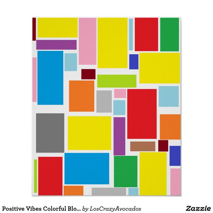 Positive Vibes Colorful Blocks A3 Poster