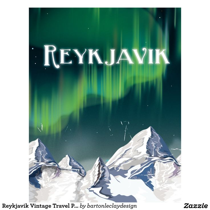 Vintage Travel Poster - Reykjavik - Iceland.