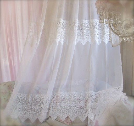 266 best curtains so pretty images on pinterest Shabby chic curtain window