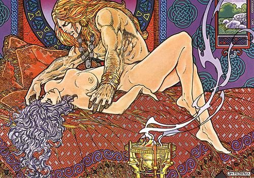Danu & the Tuatha Dé Danann. Art by Jim Fitzpatrick: THE BOOK OF CONQUEST    Bifröst   Celti   Museo. The people that recorded our folklore did not fail to mention that the gods and goddesses engaged in a fair bit of 'ritual mating', especially on Samhain, essentially any festival involved some ritual sex! Scientists now maintain that sex is good for us, it keeps your hormone levels up and it is said that we are at our mental best afterwards.