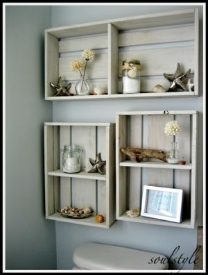 seaside theme, love the bathroom box shelves, rustic chic.