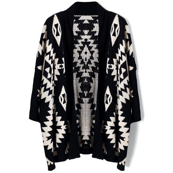 Chicwish Aztec Open Knit Cardigan in Black (125 BRL) ❤ liked on Polyvore featuring tops, cardigans, black, open front cardigan, cardigan top, aztec knit cardigan, aztec open knit cardigan and open stitch cardigan