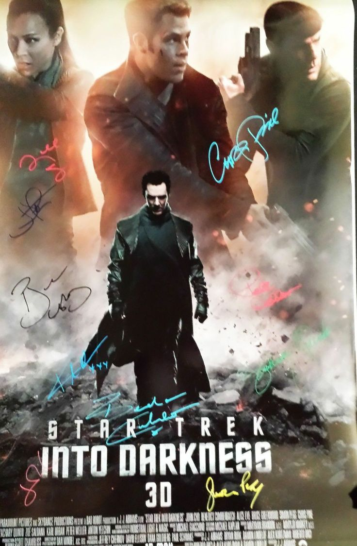 STAR TREK - INTO DARKNESS 24x36 HAND SIGNED POSTER BY CAST: CHRIS PINE x10