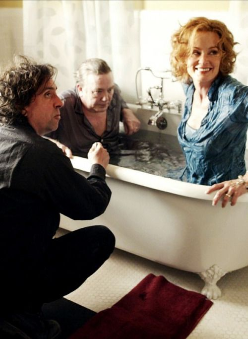 Tim Burton, Albert Finney and Jessica Lange on the set of Big Fish