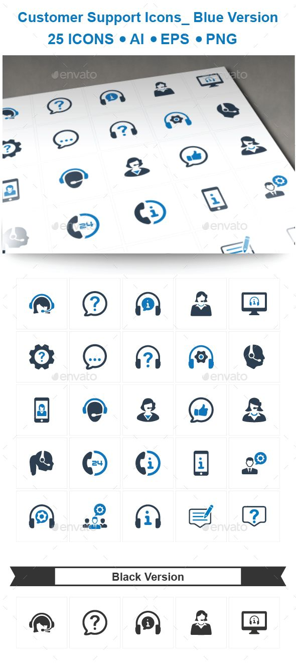 Customer Support Icons  Features:   25 Customer Support Icons   Fully editable AI, EPS files   Transparent PNG for each icon (2