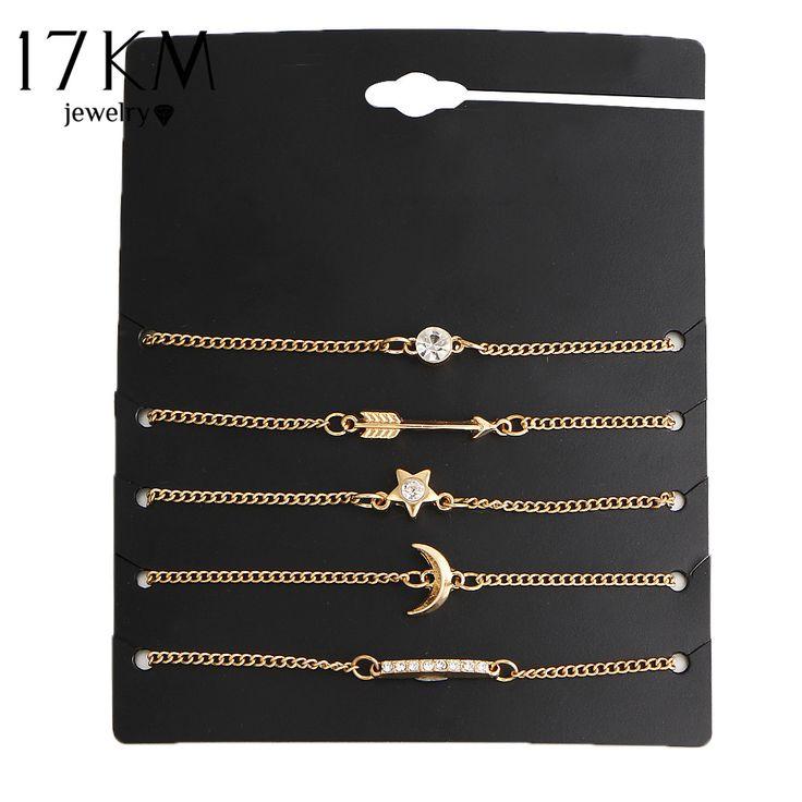 17KM 5 pcs/set Vintage Gold Color Crystal Moon Bracelet Set Punk Key Letter V Bracelets Love Moon Bijoux Jewelry Gifts