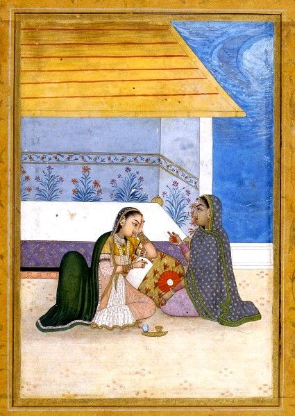 Dhanasri Ragini. Rajput, Provincial Mughal, 18th cent. In the absence of the beloved, the heroine is sadly leaning on a cushion, painting or writing on a tablet, while a friend, wearing a shawl, speaks to her (to console?).