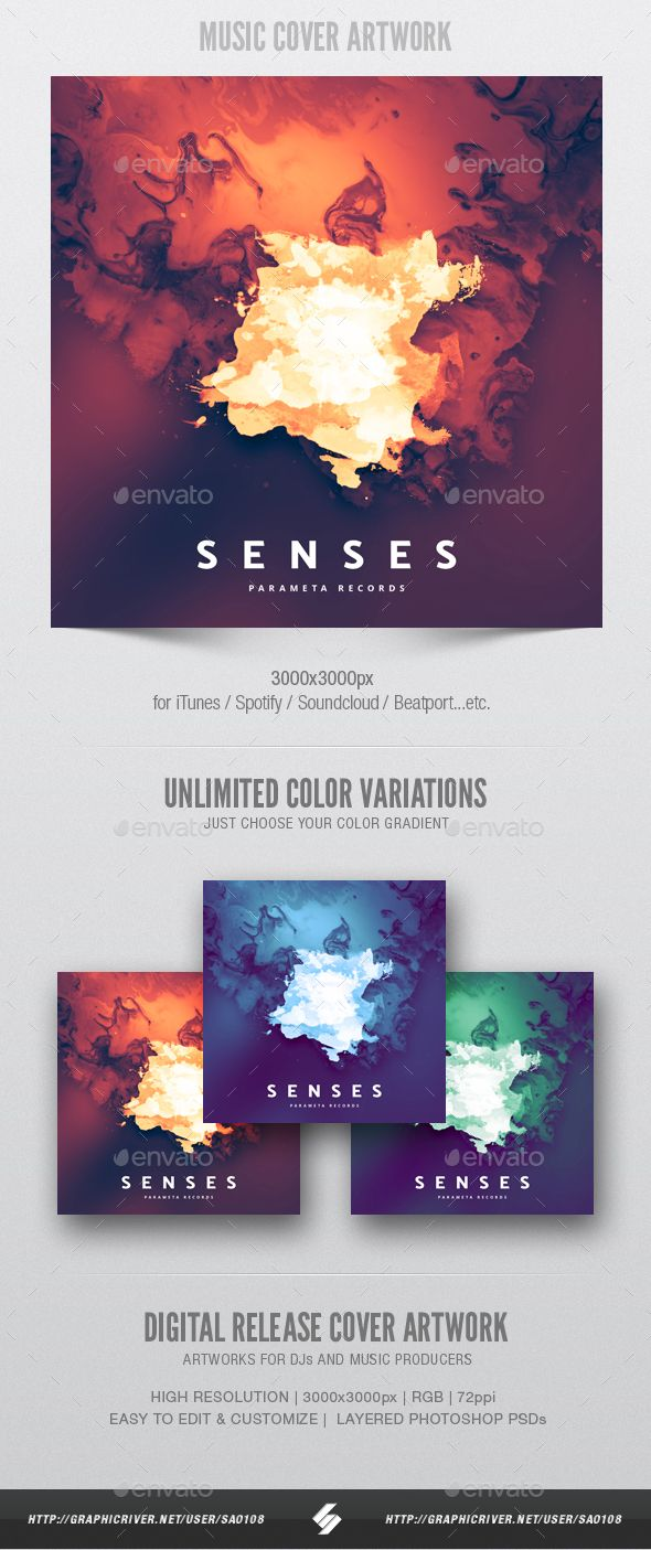 Senses Music Album Cover Artwork Template Miscellaneous Social