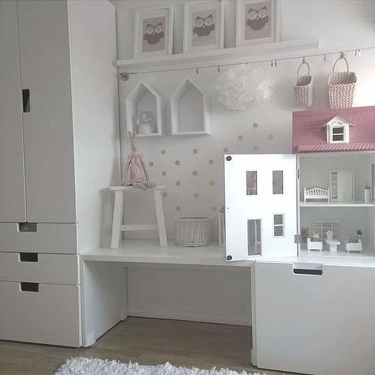 Organization of the playing area with storage space in the nursery More nursery interiors: https://en.ikea-club.org/category/children-house.html