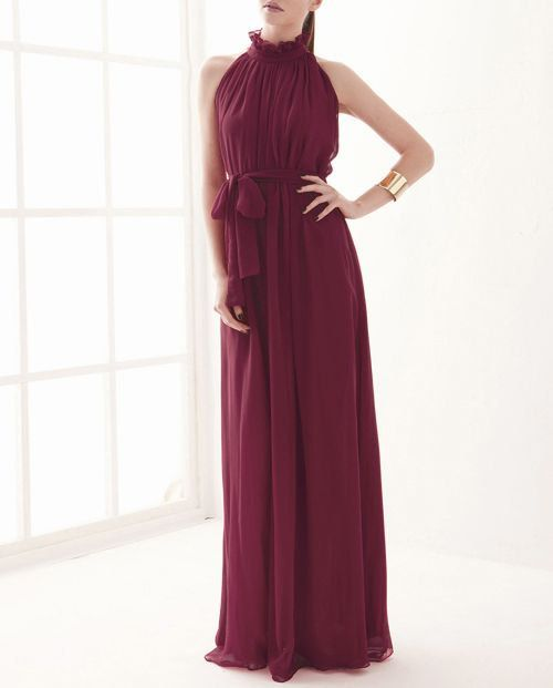 Wine Red chiffon dress maxi dress long dress door originalstyleshop, $39.99
