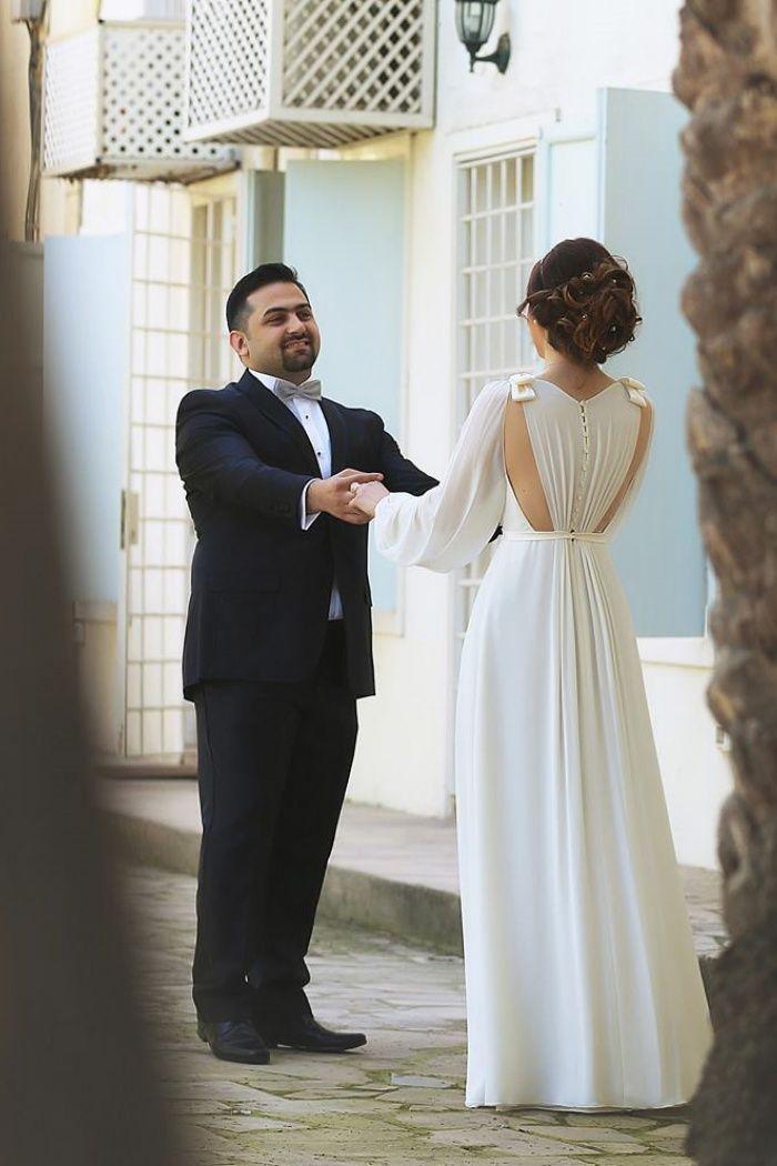 Ivory Chiffon Long Bubble Sleeve Vintage Wedding Dresses Simple Plus