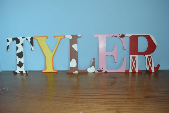 Hand painted nursery letters farm theme by ErinsEtsyEmporium, $9.50