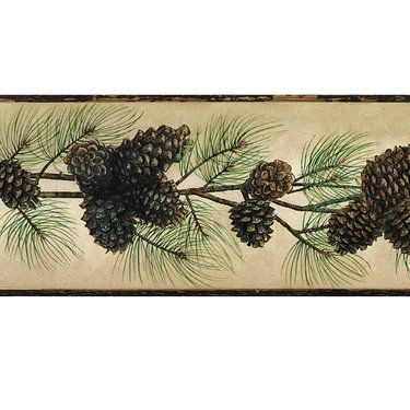 Rustic Pine Cone Wallpaper Border, Touch Of Class