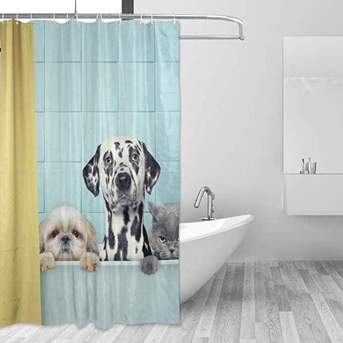 Sunop Duschvorhang Zwei Hunde Und Katzen In Der Badewanne