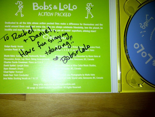 Our autographed copy of Action Packed by Bobs and Lolo.