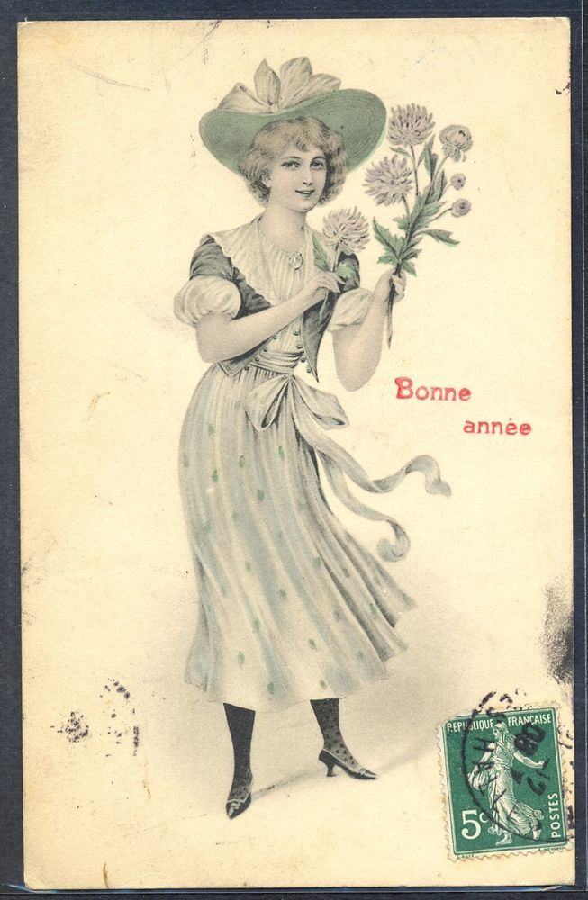 NV043 VIENNE Serie 652 New Year Elegant LADY HAT FLOWERS