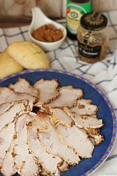 Lomo a la mostaza antigua y salsa de soja