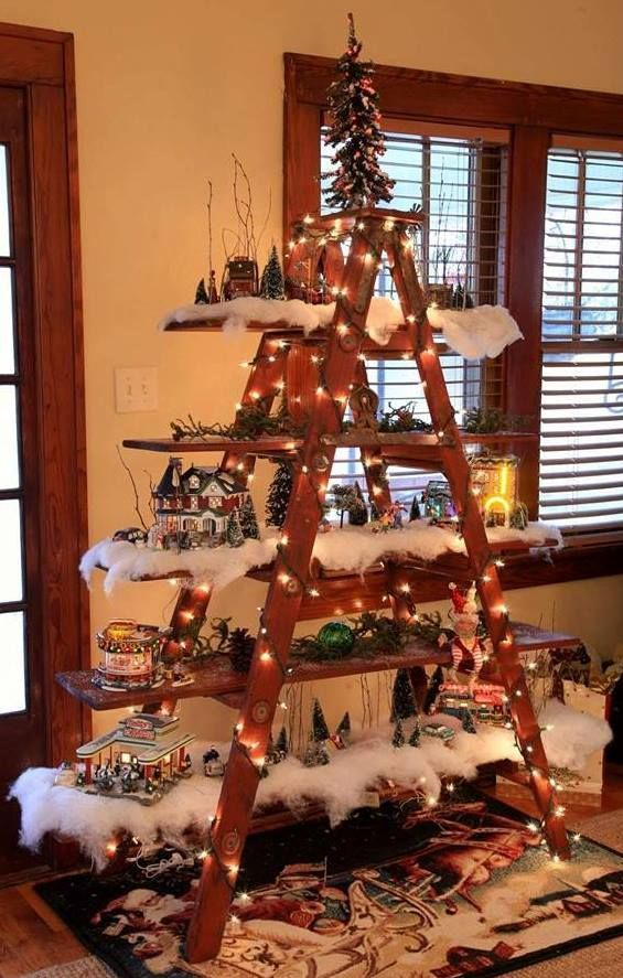This is a little different but is such a unique idea. For those with limited space you can create a space to display your Christmas village scene, nutcrackers, music boxes, etc. A simple old ladder...