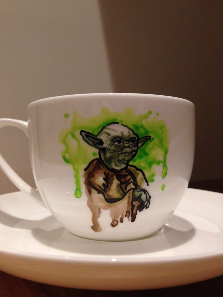Hand painted Yoda from Star Wars on tea cup & saucer set by MyMiniShedio on Etsy