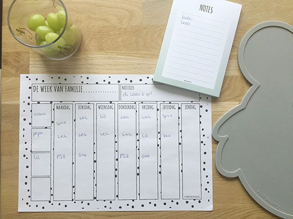 familieplanner printable weekplanner gezin