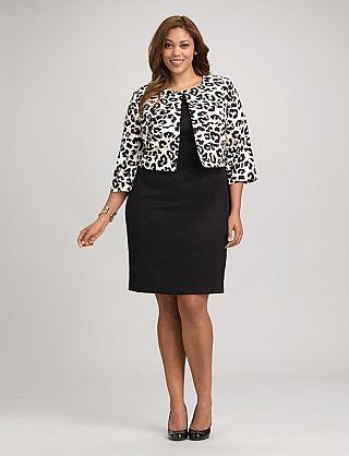 Plus Size Leopard Print Jacket Dress