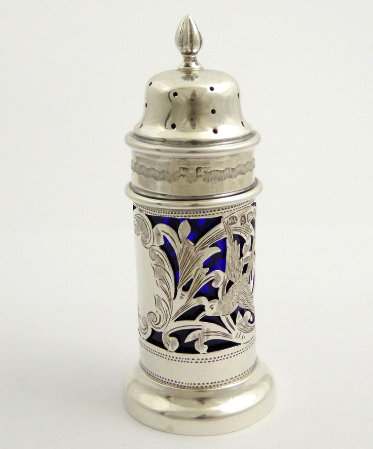 Stunning Antique 1902 Hallmarked Sterling Silver Condiment Blue Glass Shaker - The Collectors Bag