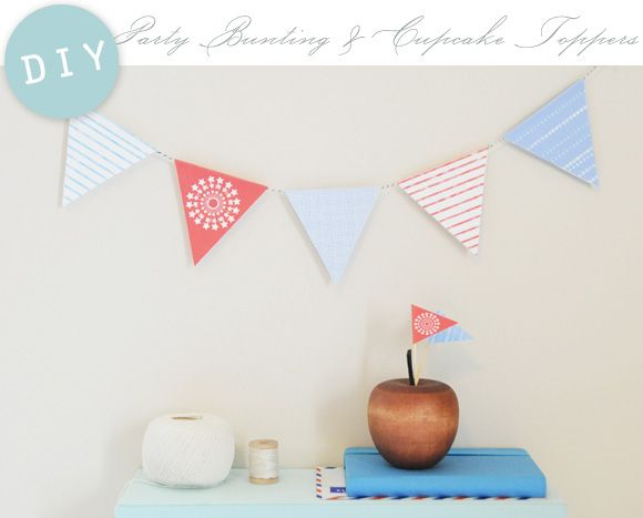 Free Download: Printable Party Bunting + CupcakeToppers - Home - Creature Comforts - daily inspiration, style, diy projects + freebies