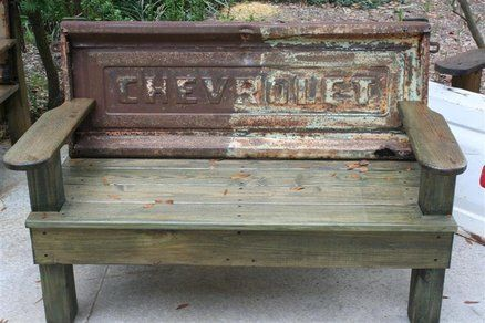 Vintage Tailgate Benches - want one of these to go with the dinning room table!!! <3
