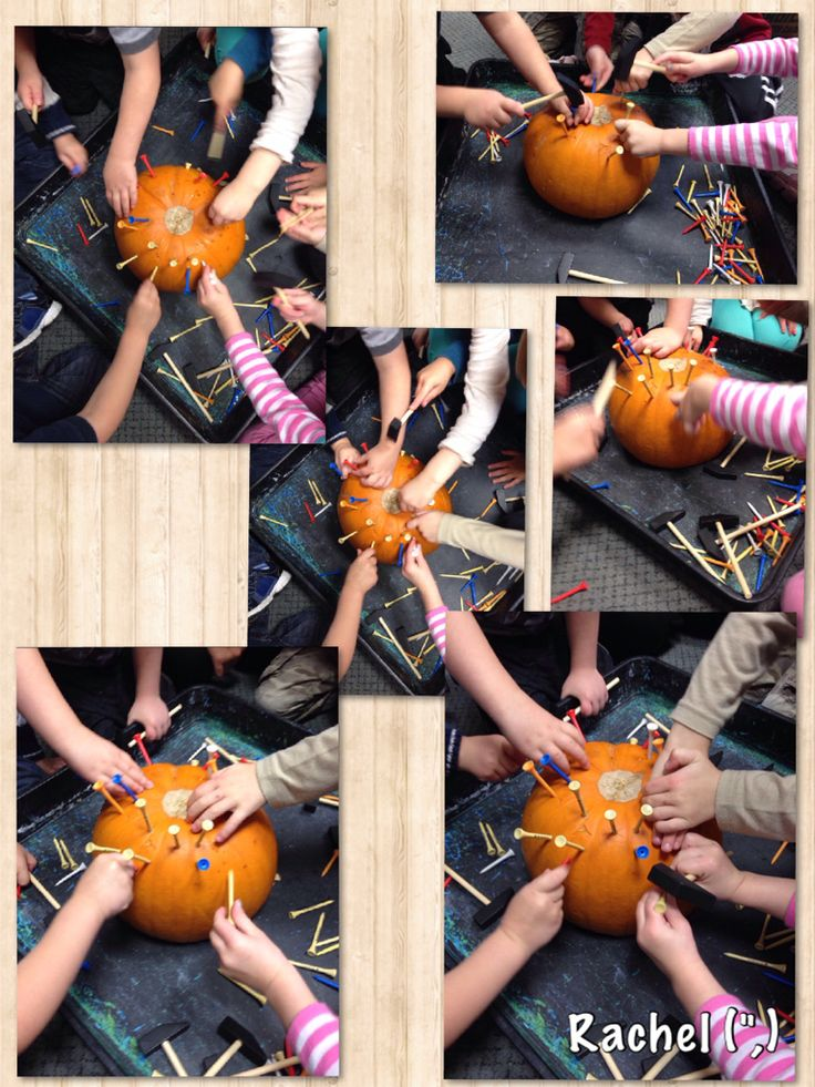 """Hand-eye co-ordination with pumpkins, golf tees & hammers - from Rachel ("""",)"""