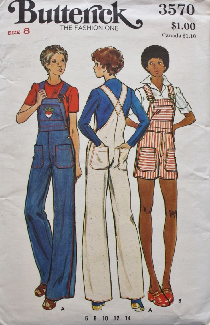 1970s Misses Overalls in Two Lengths Butterick 3570 Bust 31.5 Vintage Sewing Pattern by BluetreeSewingStudio on Etsy