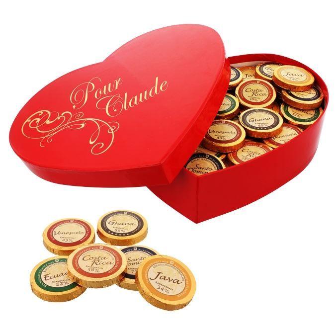 Coeur-chocolats avec dédicace personnelle