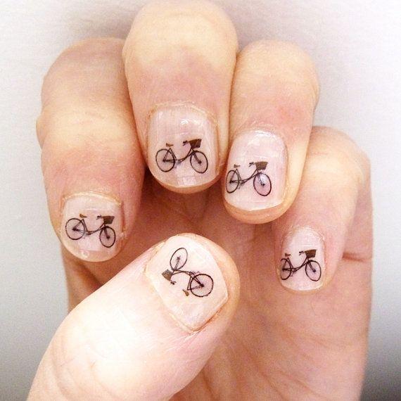 bicycles: Nails Transfer, Nails Art, Nails Stickers, Art Stickers, Beautifi Nails, Bike Transfer, Bicycles Nails, Nails Bike, Fingers Nails