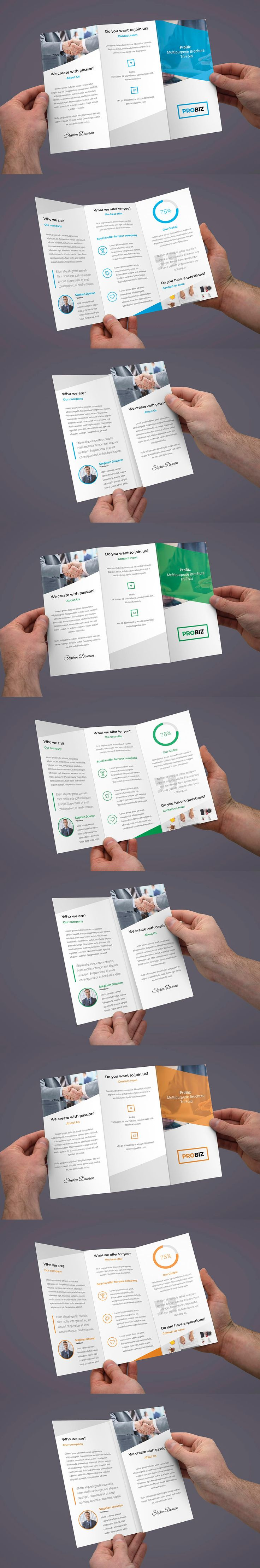 Business and Corporate Tri-Fold Brochure Print Template PSD