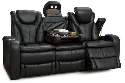 Barcalounger Colima Multimedia Sofa Top Grain Leather 7000, Powered Headrest, Power Recline, Black or Brown