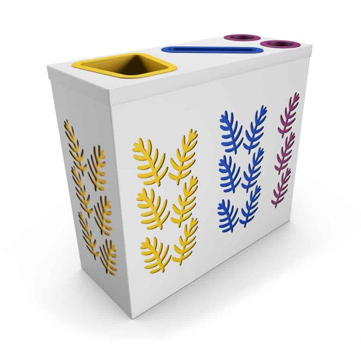 SAO OFFICE Blanc poubelle de tri sélectif avec compartiment papier et collecteur gobelets/canettes