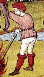 Мастер Вергилия «Сожжение Великого магистра» (фрагмент) — «Хроники Сен-Дени» (Royal 20 C VII), fol. 48. 1380—1400. Британская библиотека, Лондон