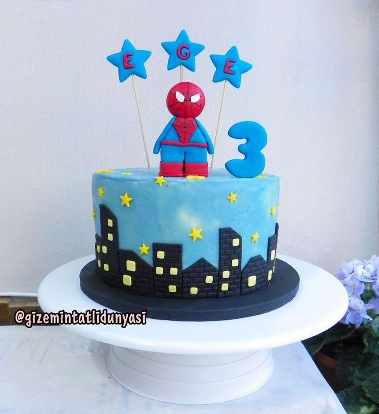 """112 Beğenme, 3 Yorum - Instagram'da Butik Pasta / Kurabiye (@gizemintatlidunyasi): """"Ege 3 Yaşında  #spiderman #spidermancke #spidermanpasta #şekerhamursuzpasta"""""""