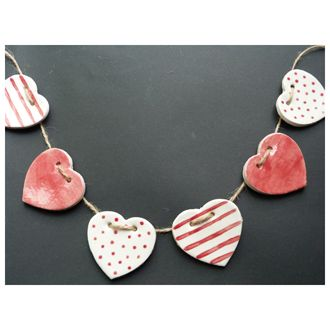 HANDMADE CERAMIC BUNTING HEARTS - RED - £12.00 : Barker & Cummings:, Crafted with Care