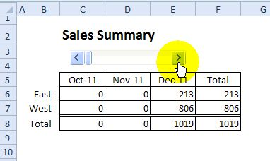 Choose Report Dates With Excel Scroll Bar