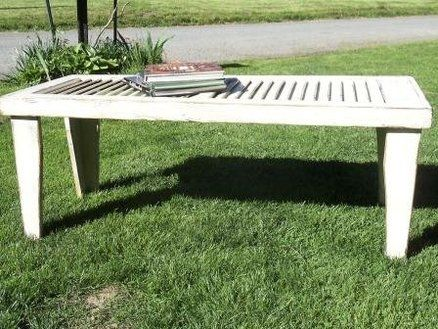 Primitive, Rustic Shutter Table made with Vintage Shutter (make legs longer for sofa table...)