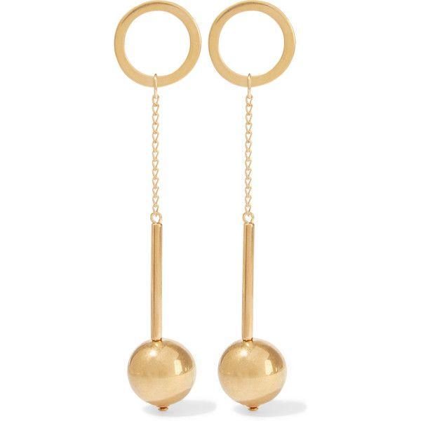 Marni Gold-plated earrings (1,815 BOB) ❤ liked on Polyvore featuring jewelry, earrings, gold, gold plated jewelry, gold plated earrings, marni, post earrings and marni jewelry